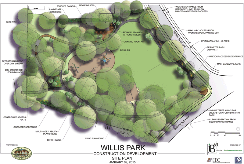 Colored drawing of the Willis Site Park plan, including labels of where items and facilities will be