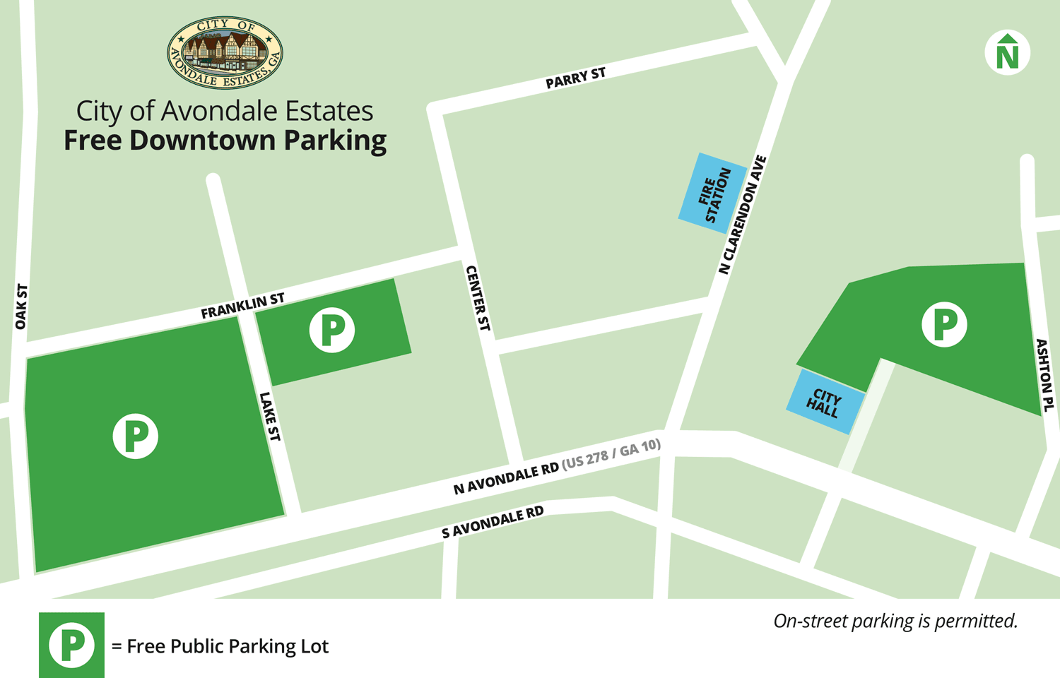Map showing free public parking allowed in several City-owned downtown lots
